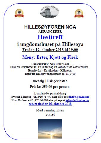 Høstreff Oktober, erter kjøtt og flesk, ring Knut Karlsen – tlf.: 976 66 680 eller på e-post k-bkarls@online.no